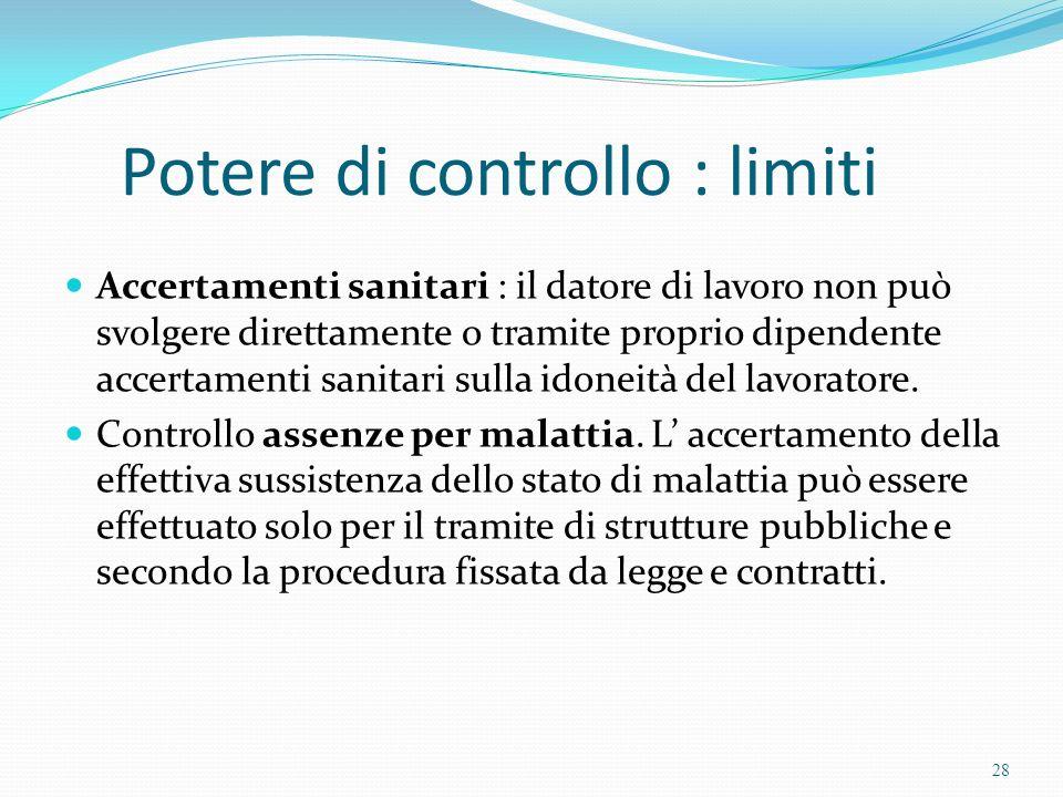 Potere di controllo : limiti