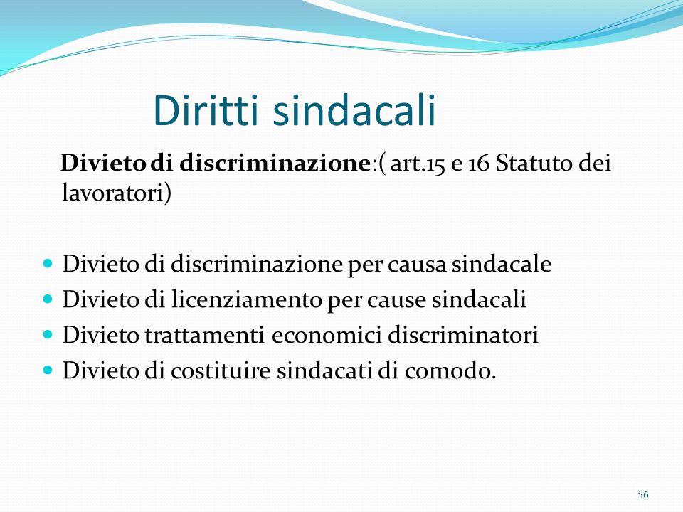 Diritti sindacali Divieto di discriminazione:( art.15 e 16 Statuto dei lavoratori) Divieto di discriminazione per causa sindacale.