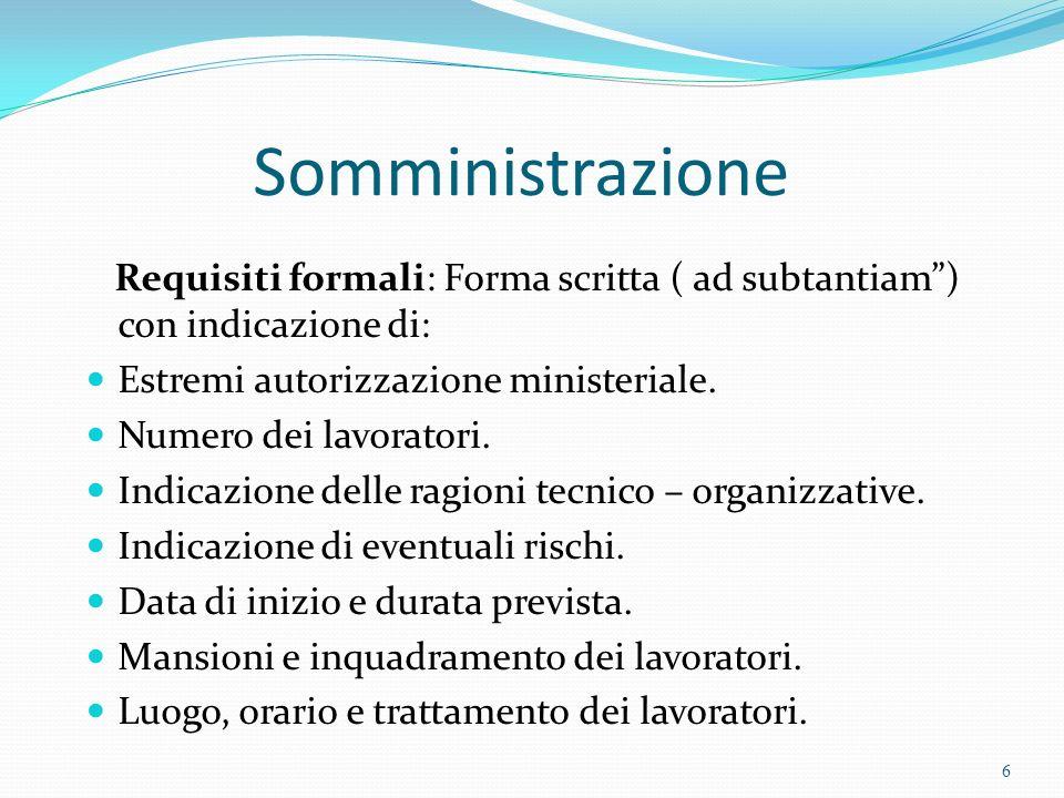 Somministrazione Requisiti formali: Forma scritta ( ad subtantiam ) con indicazione di: Estremi autorizzazione ministeriale.