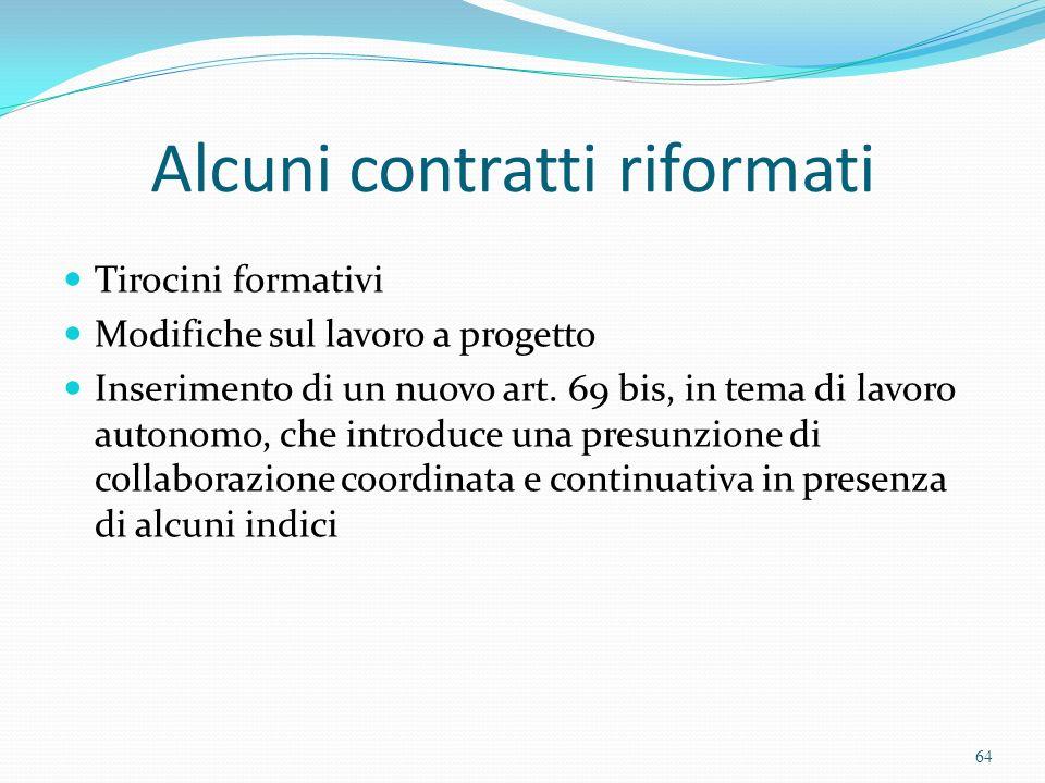 Alcuni contratti riformati