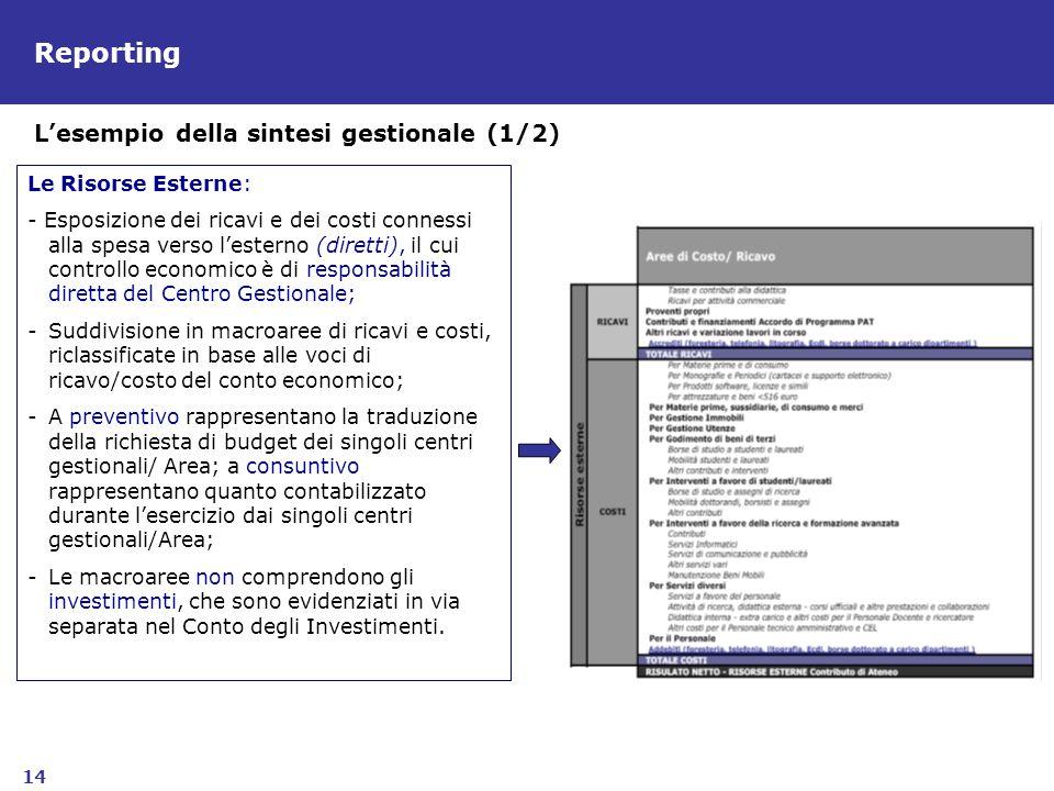 Reporting L'esempio della sintesi gestionale (1/2) Le Risorse Esterne: