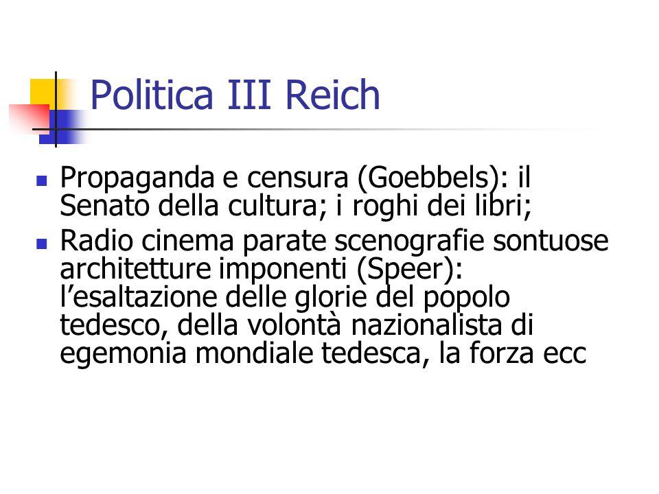 Politica III Reich Propaganda e censura (Goebbels): il Senato della cultura; i roghi dei libri;