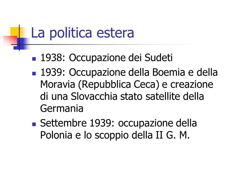 La politica estera 1938: Occupazione dei Sudeti