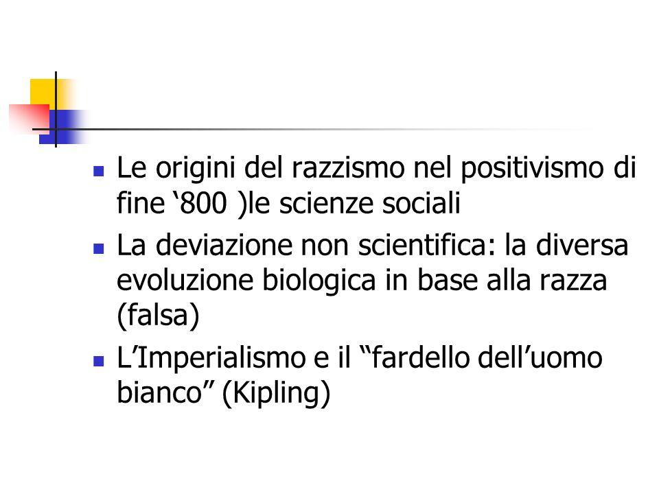 Le origini del razzismo nel positivismo di fine '800 )le scienze sociali