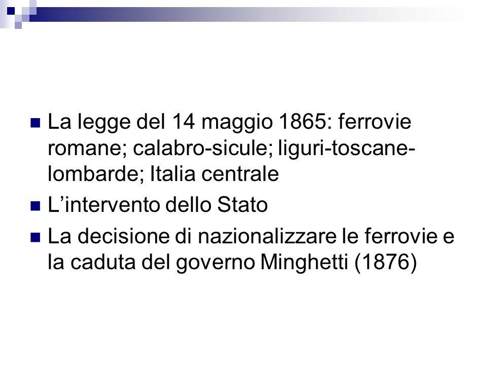 La legge del 14 maggio 1865: ferrovie romane; calabro-sicule; liguri-toscane-lombarde; Italia centrale
