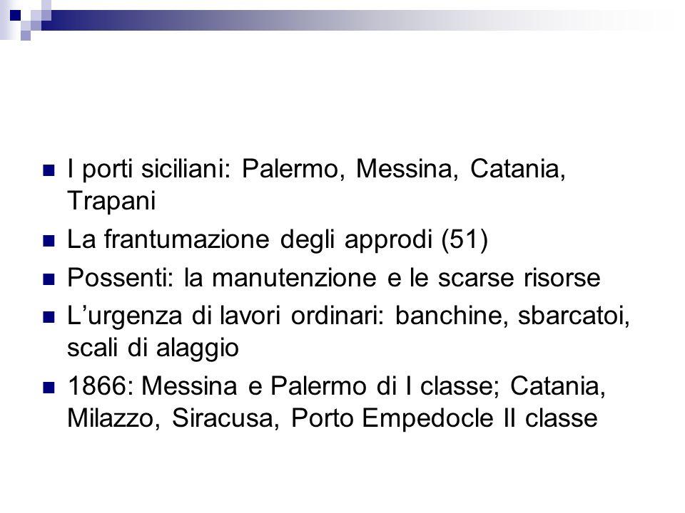 I porti siciliani: Palermo, Messina, Catania, Trapani