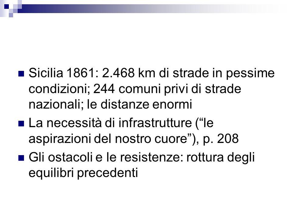 Sicilia 1861: 2.468 km di strade in pessime condizioni; 244 comuni privi di strade nazionali; le distanze enormi