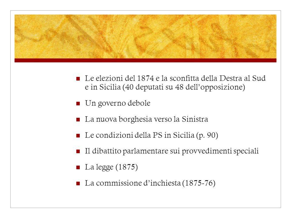 Le elezioni del 1874 e la sconfitta della Destra al Sud e in Sicilia (40 deputati su 48 dell'opposizione)