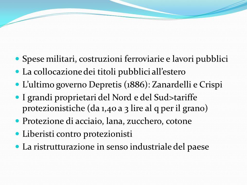 Spese militari, costruzioni ferroviarie e lavori pubblici