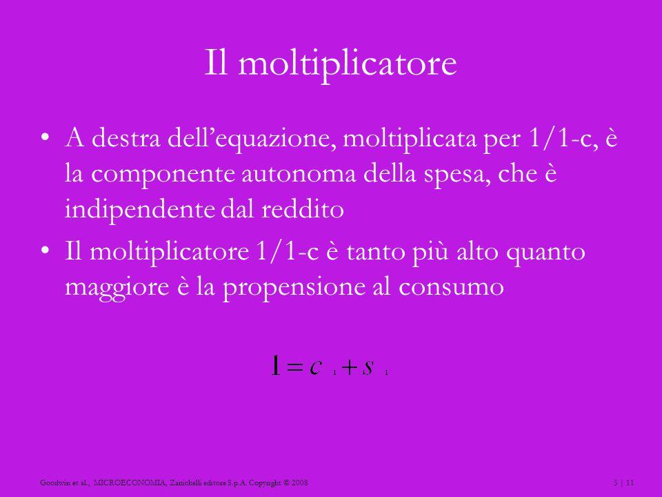 Il moltiplicatore A destra dell'equazione, moltiplicata per 1/1-c, è la componente autonoma della spesa, che è indipendente dal reddito.