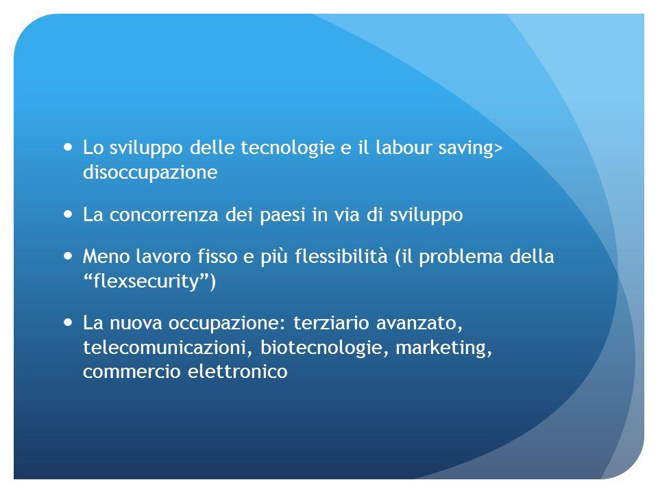 Lo sviluppo delle tecnologie e il labour saving> disoccupazione