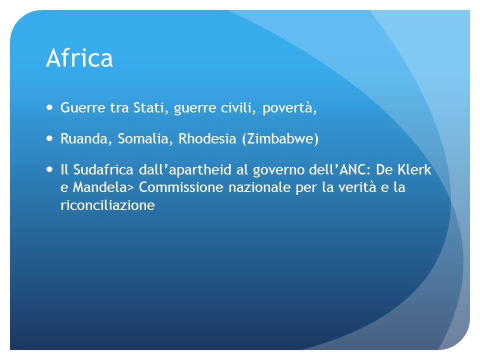 Africa Guerre tra Stati, guerre civili, povertà,