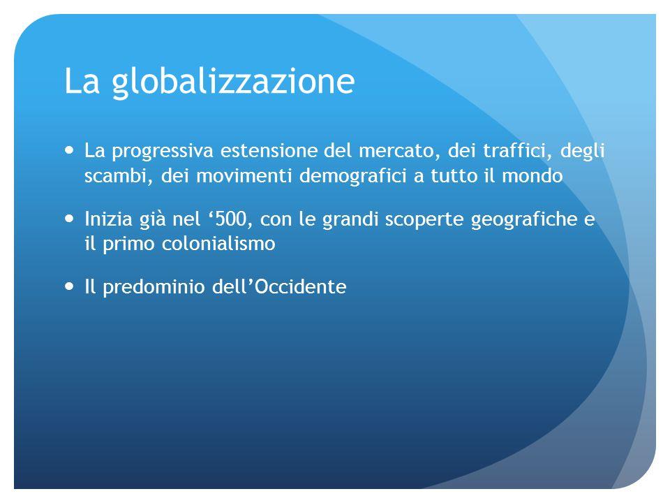 La globalizzazione La progressiva estensione del mercato, dei traffici, degli scambi, dei movimenti demografici a tutto il mondo.