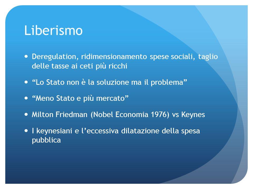 Liberismo Deregulation, ridimensionamento spese sociali, taglio delle tasse ai ceti più ricchi. Lo Stato non è la soluzione ma il problema