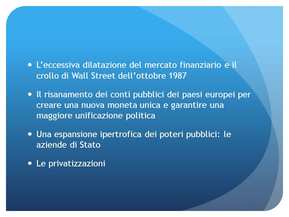 L'eccessiva dilatazione del mercato finanziario e il crollo di Wall Street dell'ottobre 1987