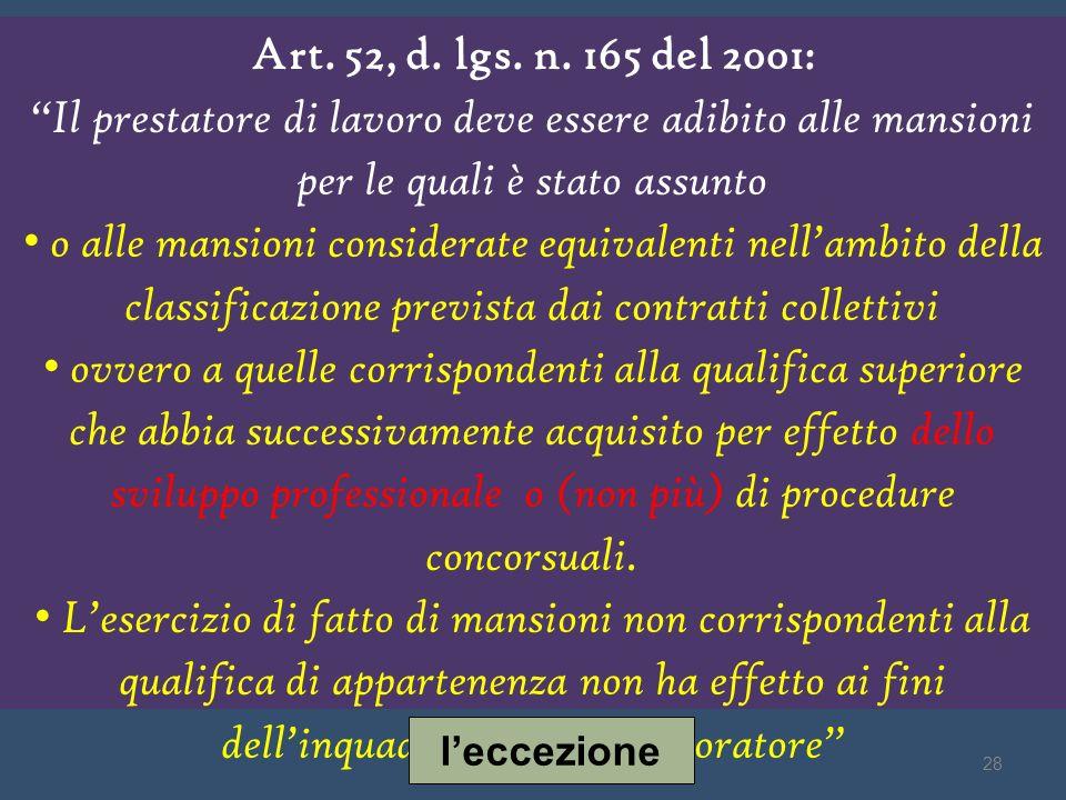 Art. 52, d. lgs. n. 165 del 2001: Il prestatore di lavoro deve essere adibito alle mansioni per le quali è stato assunto.