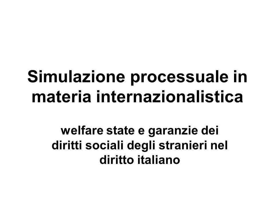 Simulazione processuale in materia internazionalistica