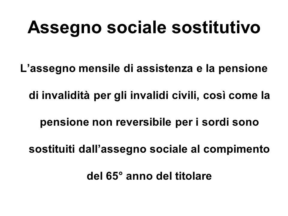 Assegno sociale sostitutivo