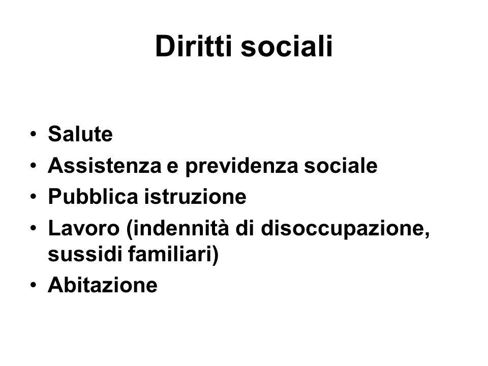 Diritti sociali Salute Assistenza e previdenza sociale