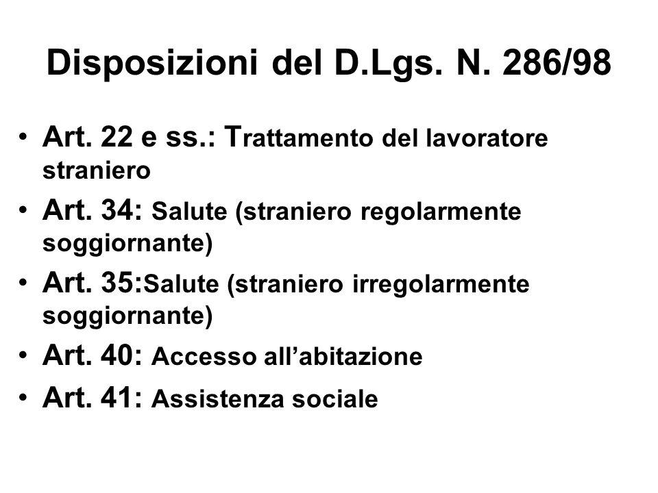 Disposizioni del D.Lgs. N. 286/98