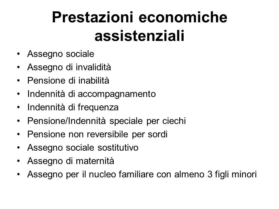 Prestazioni economiche assistenziali