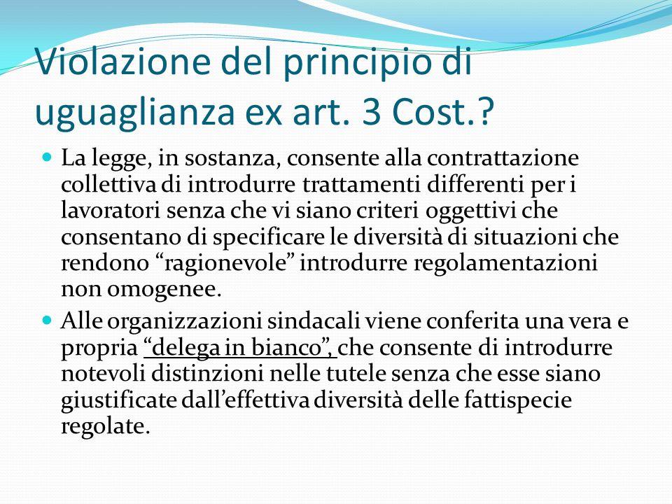 Violazione del principio di uguaglianza ex art. 3 Cost.