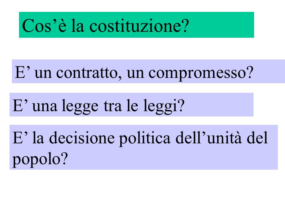 Cos'è la costituzione E' un contratto, un compromesso