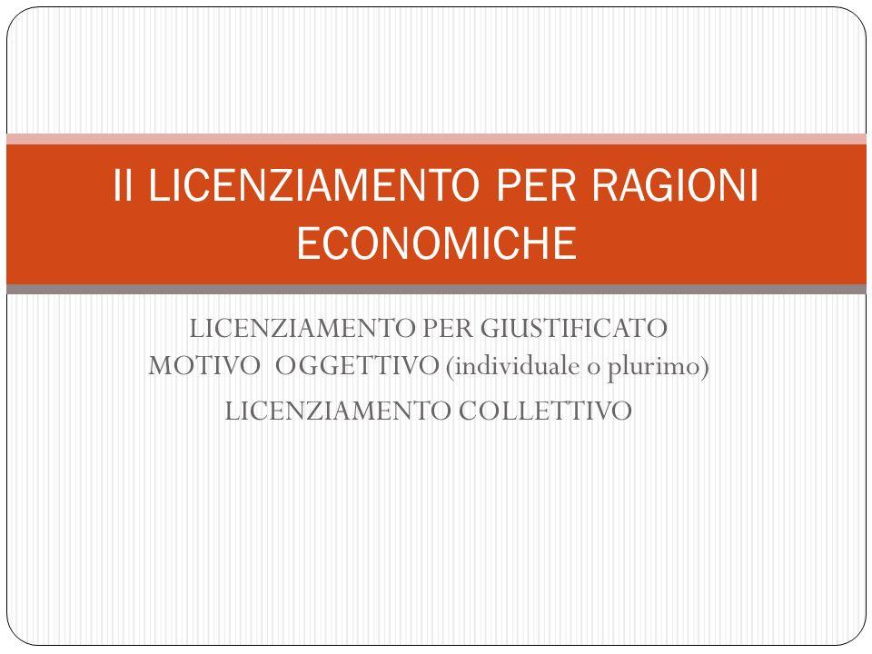 Il LICENZIAMENTO PER RAGIONI ECONOMICHE