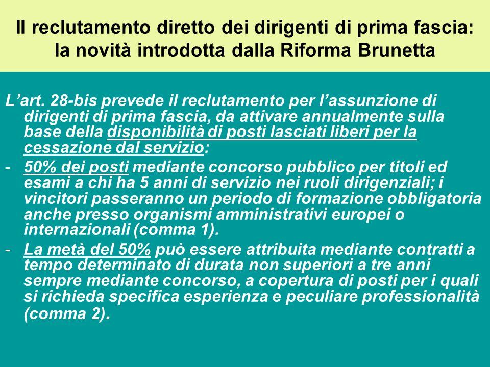 Il reclutamento diretto dei dirigenti di prima fascia: la novità introdotta dalla Riforma Brunetta