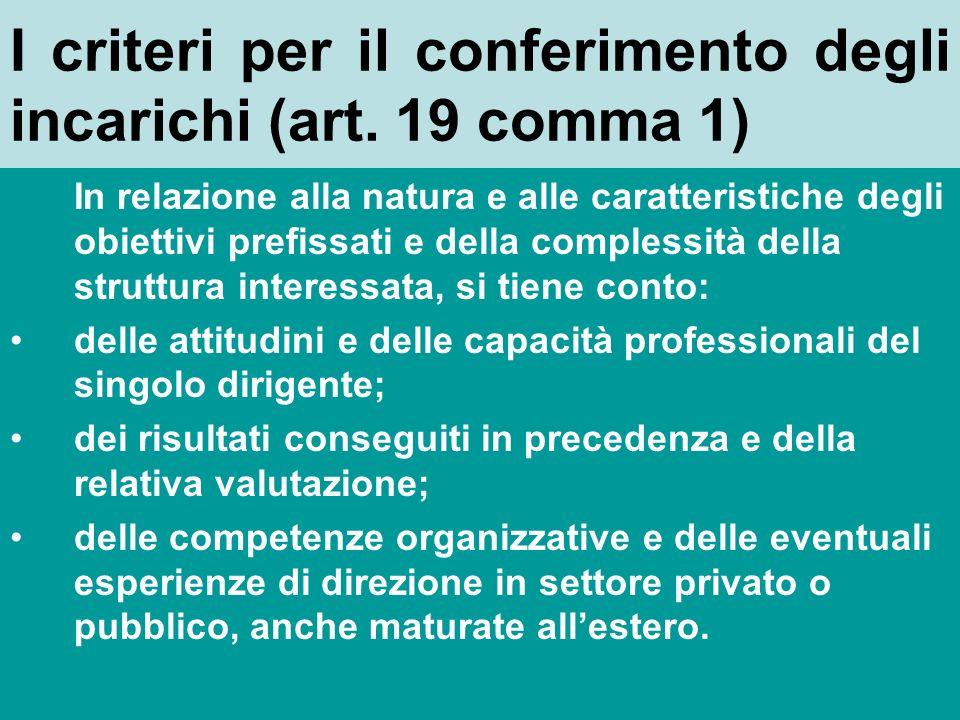 I criteri per il conferimento degli incarichi (art. 19 comma 1)