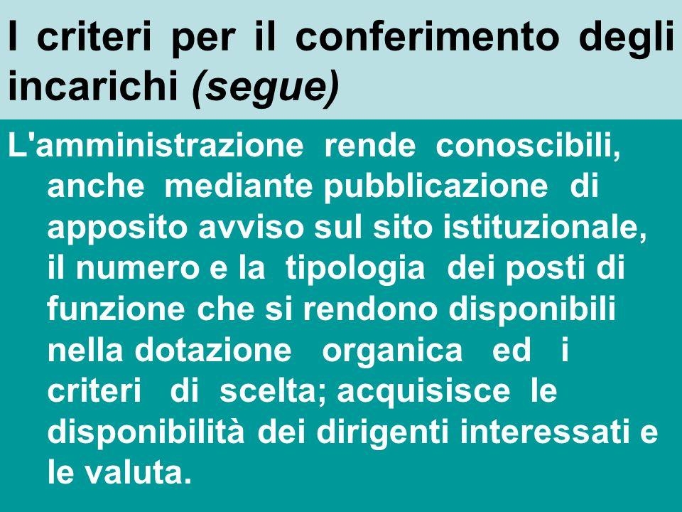 I criteri per il conferimento degli incarichi (segue)
