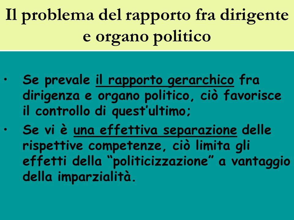 Il problema del rapporto fra dirigente e organo politico