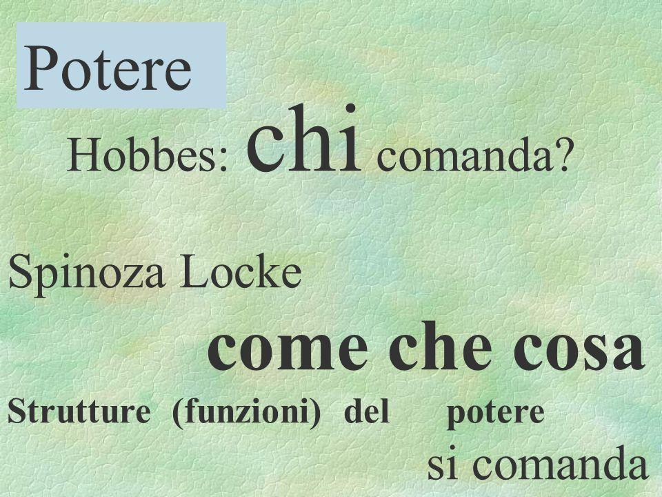 Potere Hobbes: chi comanda Spinoza Locke come che cosa si comanda
