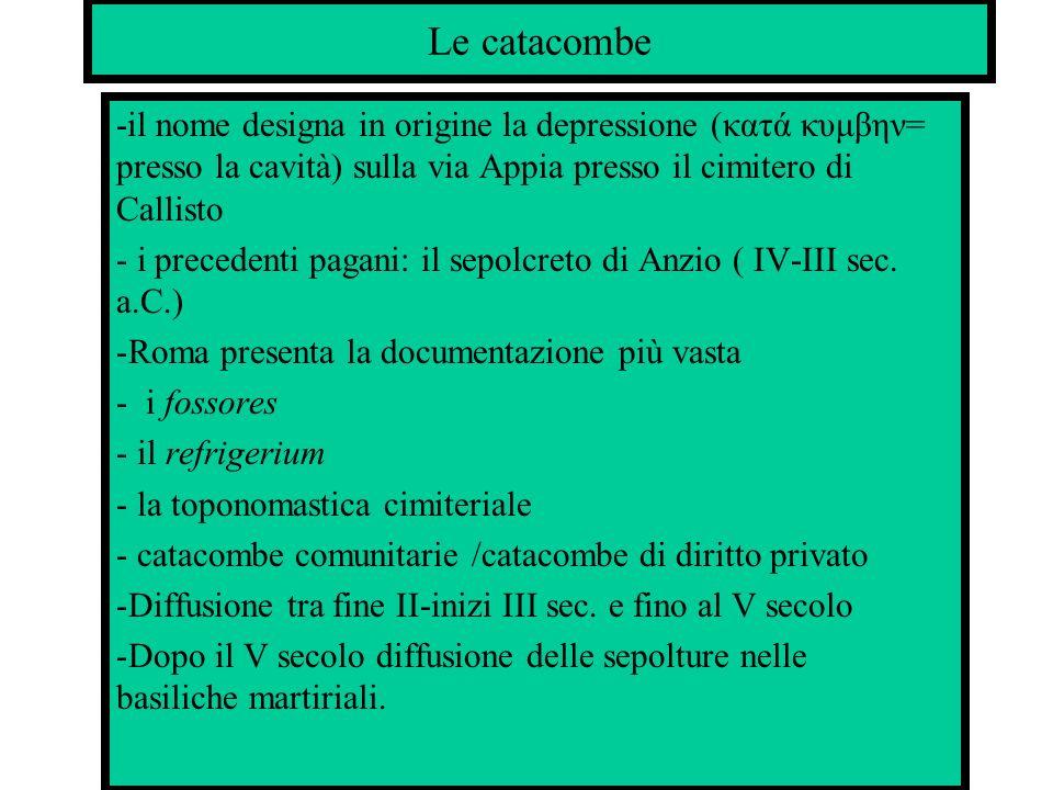 Le catacombe-il nome designa in origine la depressione (κατά κυμβην= presso la cavità) sulla via Appia presso il cimitero di Callisto.