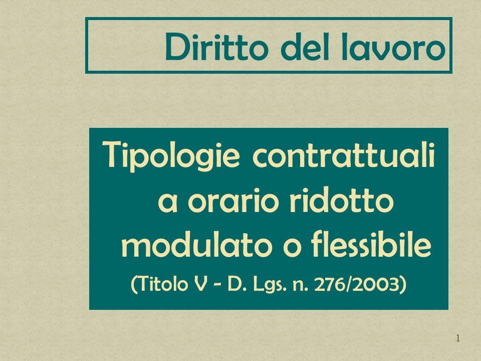 Tipologie contrattuali a orario ridotto modulato o flessibile