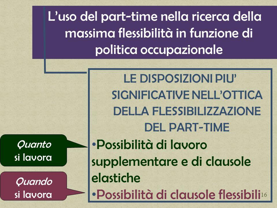 Possibilità di lavoro supplementare e di clausole elastiche