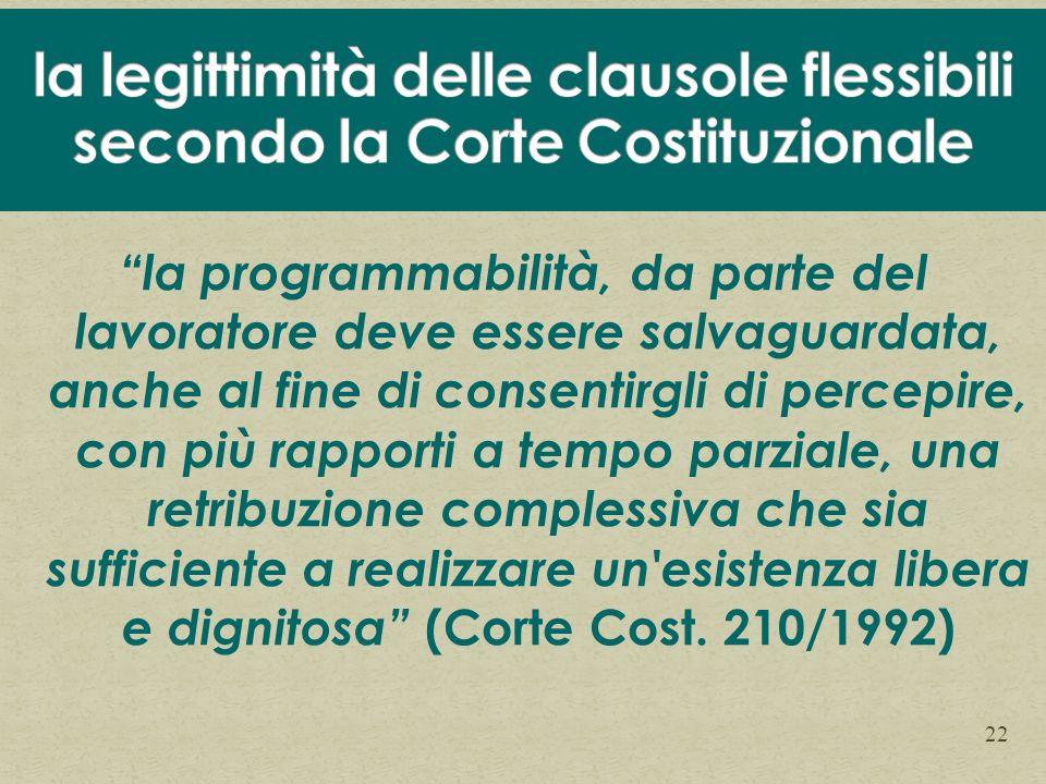 la legittimità delle clausole flessibili secondo la Corte Costituzionale