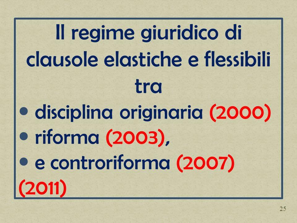 Il regime giuridico di clausole elastiche e flessibili tra