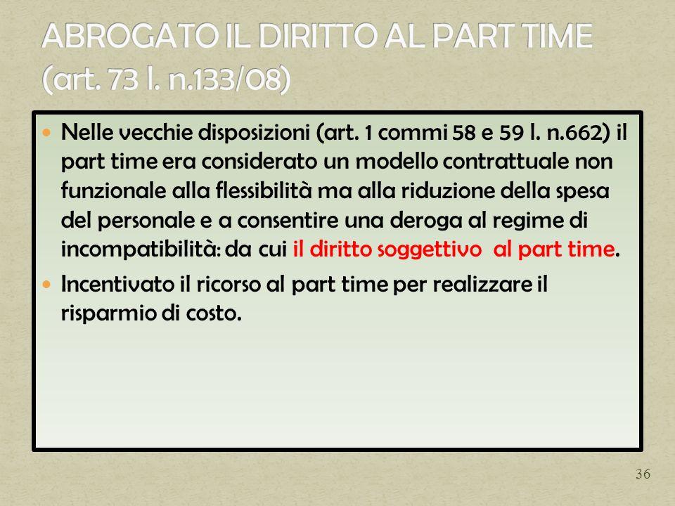 ABROGATO IL DIRITTO AL PART TIME (art. 73 l. n.133/08)