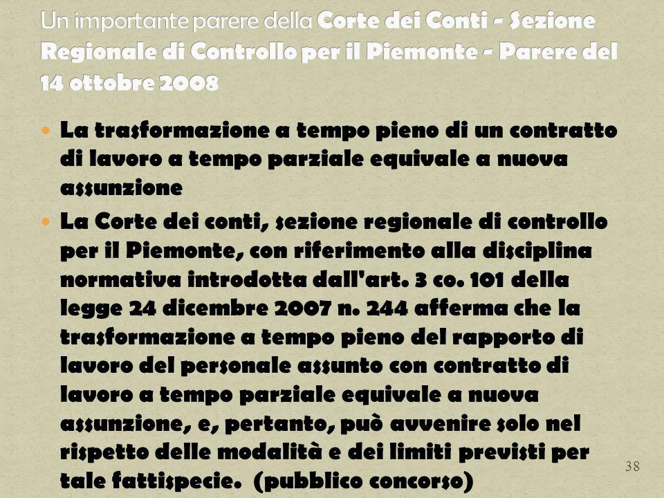 Un importante parere della Corte dei Conti - Sezione Regionale di Controllo per il Piemonte - Parere del 14 ottobre 2008