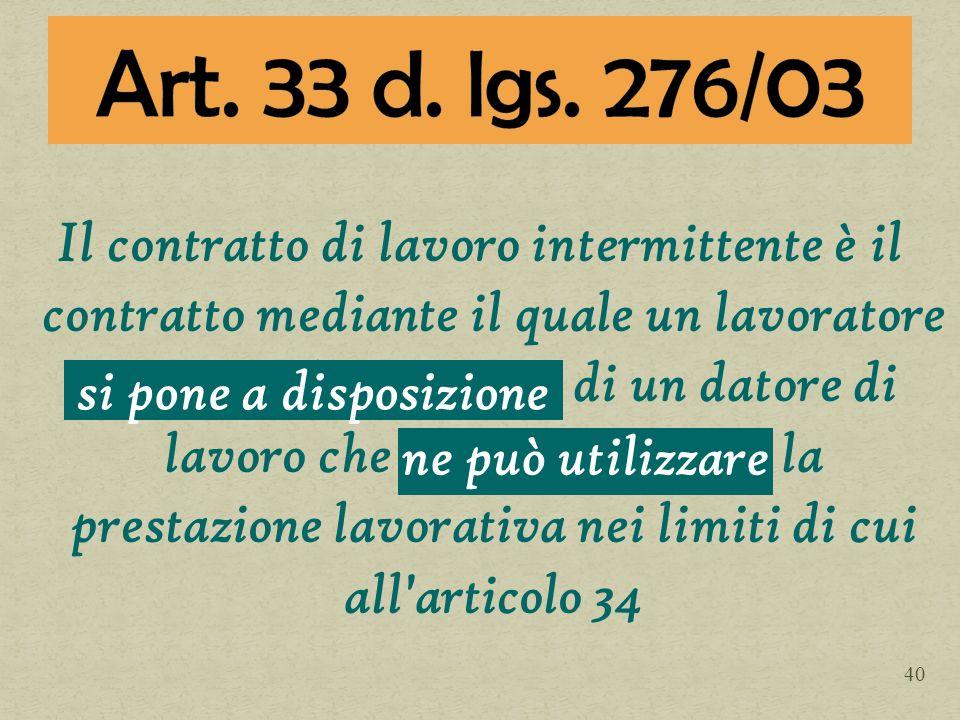 Art. 33 d. lgs. 276/03