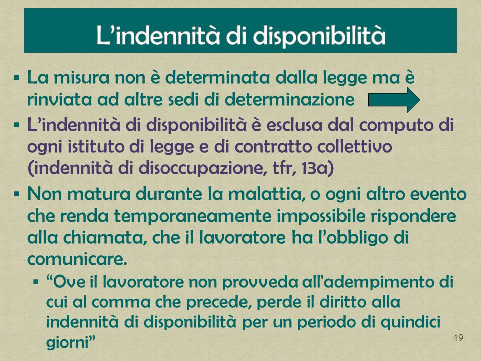 L'indennità di disponibilità