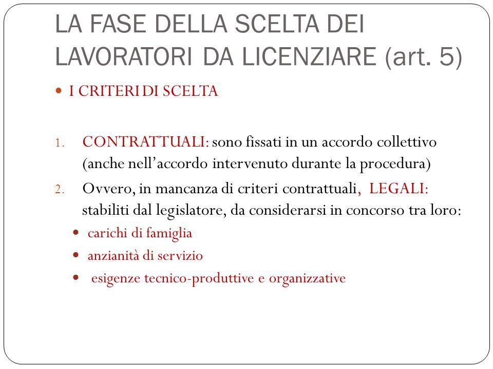 LA FASE DELLA SCELTA DEI LAVORATORI DA LICENZIARE (art. 5)