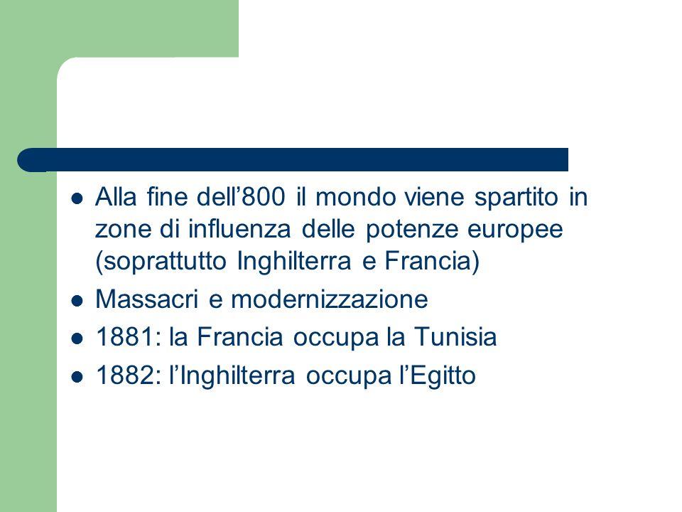 Alla fine dell'800 il mondo viene spartito in zone di influenza delle potenze europee (soprattutto Inghilterra e Francia)