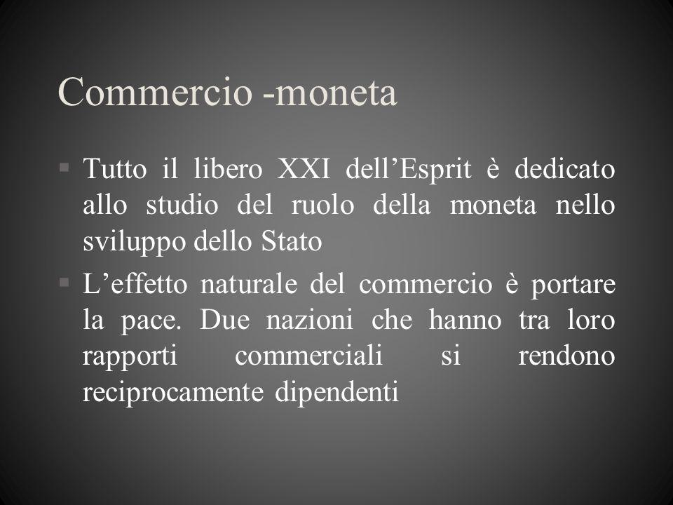 Commercio -monetaTutto il libero XXI dell'Esprit è dedicato allo studio del ruolo della moneta nello sviluppo dello Stato.