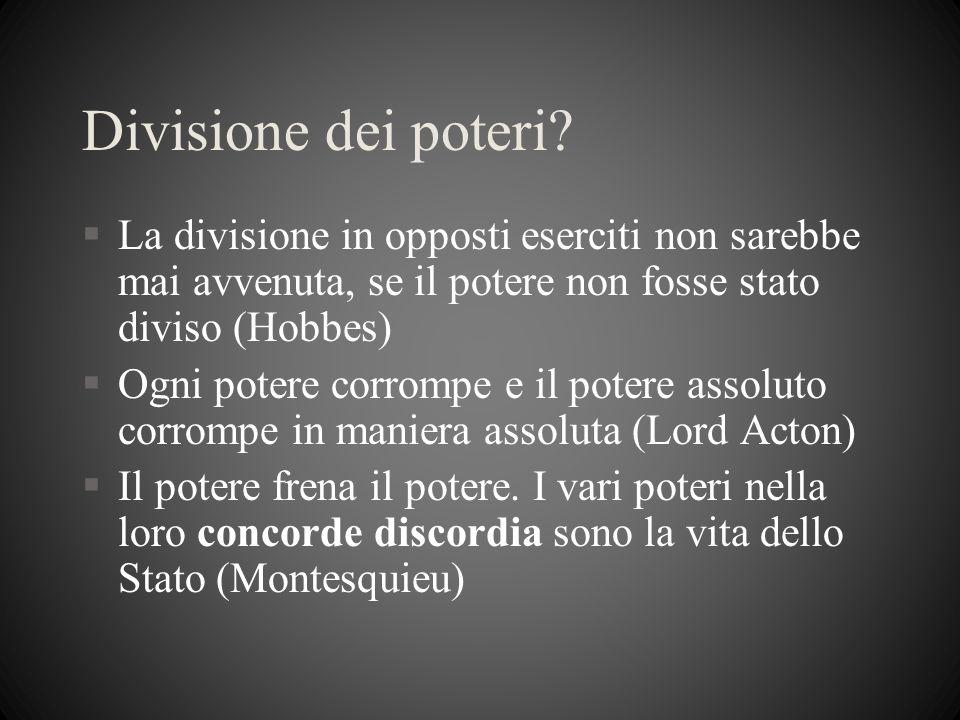 Divisione dei poteri La divisione in opposti eserciti non sarebbe mai avvenuta, se il potere non fosse stato diviso (Hobbes)