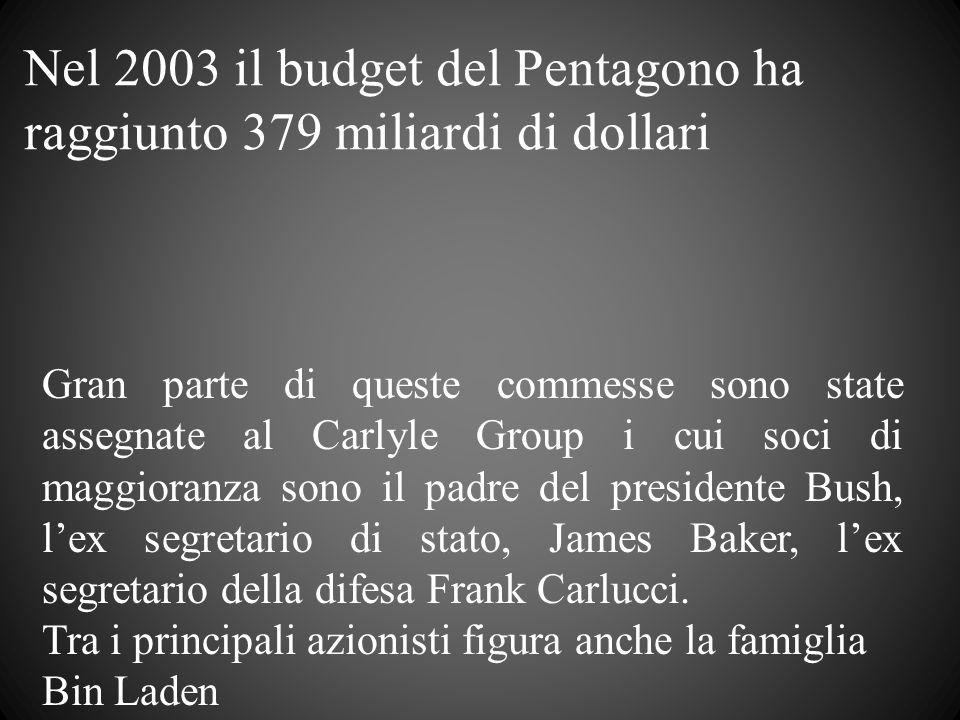 Nel 2003 il budget del Pentagono ha raggiunto 379 miliardi di dollari