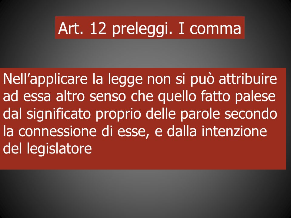 Art. 12 preleggi. I comma