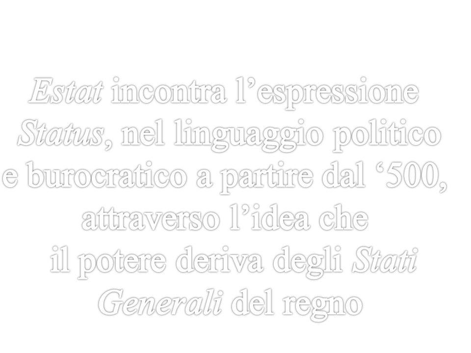 Estat incontra l'espressione Status, nel linguaggio politico