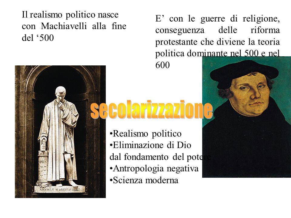 secolarizzazione Il realismo politico nasce